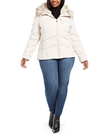 Plus Size Hooded Puffer Coat With Faux-Fur Trim