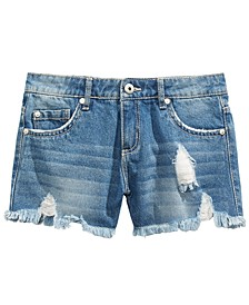 Big Girls Cotton Ripped & Frayed Denim Shorts