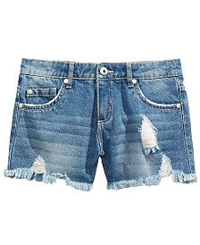 DKNY Big Girls Cotton Ripped & Frayed Denim Shorts