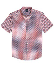 Men's Custom-Fit Interlocking H Print Magnetic Short Sleeve Button Down Shirt