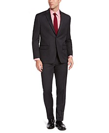 Men's Classic-Fit Charcoal Sharkskin Suit Separates