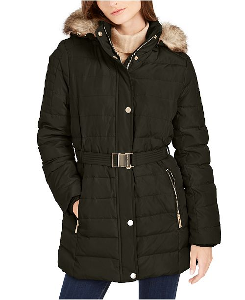 Michael Kors Faux Fur Trim Hooded Down Coat, Created for Macy's