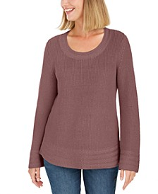 Petite Mixed-Stitch Sweater, Created For Macy's