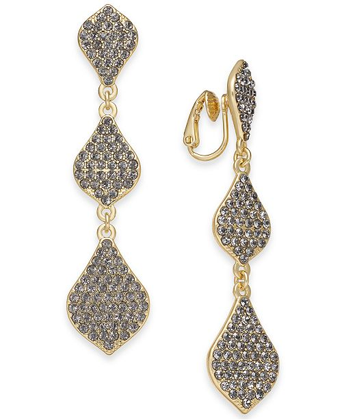 INC International Concepts INC Gold-Tone Pavé Clip-On Triple Drop Earrings, Created For Macy's
