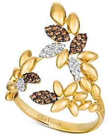 Chocolatier® Diamond Leaf Statement Ring (1/5 ct. t.w.) in 14k Gold