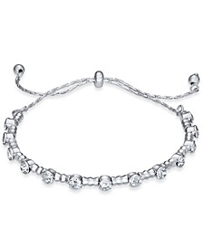 INC Silver-Tone Crystal Beaded Slider Bracelet, Created For Macy's