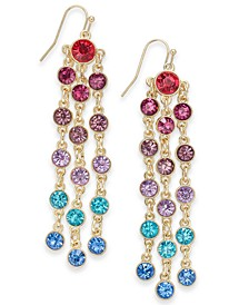 INC Gold-Tone Multicolor Crystal Shaky Linear Drop Earrings, Created For Macy's