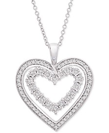 Diamond Heart Adjustable Pendant Necklace (1/4 ct. t.w.) in Sterling Silver