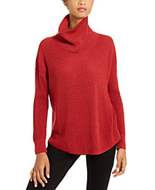 Eileen Fisher Ribbed Cowl-Neck Sweater