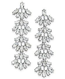 INC Silver-Tone Crystal Fan Linear Drop Earrings, Created For Macy's