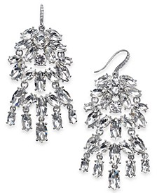INC Silver-Tone Crystal Chandelier Earrings, Created For Macy's