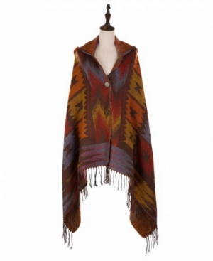 Muted Earth-Tone Poncho with 2 Button Closure