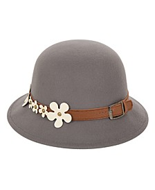 Cloche Hat Band with Buckle and Flowers