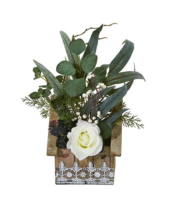 "Nearly Natural 16"" Rose and Eucalyptus Artificial Arrangement in Hanging Floral Design House Planter"