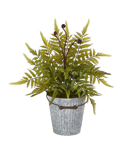 "Nearly Natural 20"" Fern Artificial Plant in Vintage Metal Bucket"