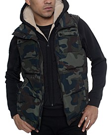 Men's Layered Camo Hoodie Vest