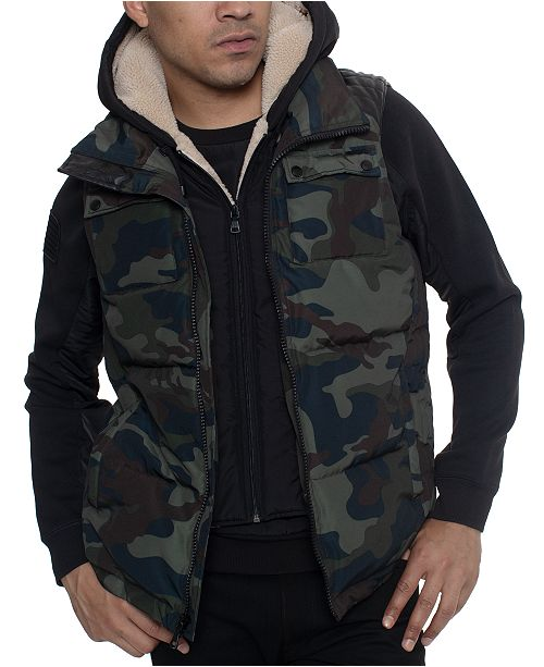 Sean John Men's Layered Camo Hoodie Vest