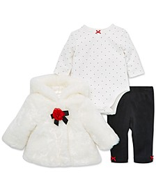 Baby Girls 3-Pc. Faux-Fur Jacket, Bodysuit & Pants Set