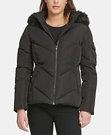 Petite Hooded Faux-Fur-Trim Puffer Coat
