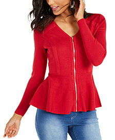 Thalia Sodi Zip Peplum Sweater, Created For Macy's
