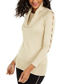 Cowl-Neck Cutout-Sleeve Sweater, Created For Macy's