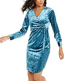 Side-Tie Velvet Surplice Dress, Created For Macy's