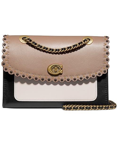 COACH Parker Scalloped Colorblocked Leather Shoulder Bag