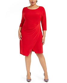 Plus Size Asymmetrical Draped Sheath Dress