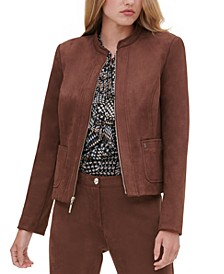 Faux-Suede Zippered Jacket