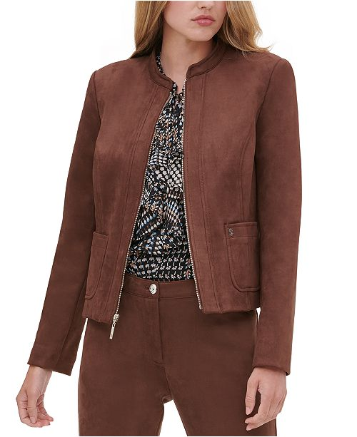 Tommy Hilfiger Faux-Suede Zippered Jacket
