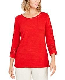 Crochet-Inset Top, Created for Macy's