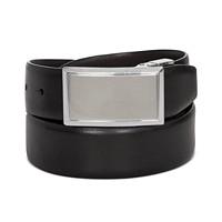 Perry Ellis Mens Shiny Leather Reversible Plaque Belt