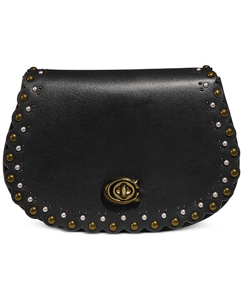 COACH Leather Rivets Saddle Belt Bag