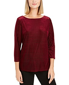 Petite Flocked Boat-Neck Top, Created For Macy's