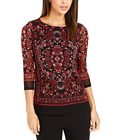 Petite Printed Mesh Top, Created For Macy's