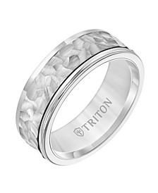 8MM White Tungsten Carbide Ring with 14K White Gold Hammered Insert