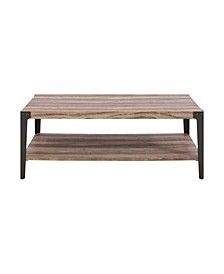 Modern Industrial Coffee Table in Distressed Wood Finish With Metal