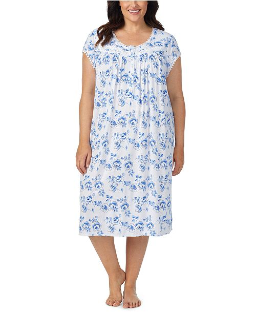 Eileen West Plus Size Jersey-Knit Lace-Trim Waltz Nightgown