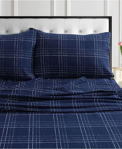 Tribeca Living Oxford Plaid Flannel Printed Extra Deep Pocket Cal King Sheet Set