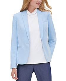 Peak-Lapel Single-Button Blazer