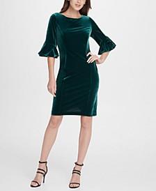 Velvet Flare Sleeve Sheath Dress