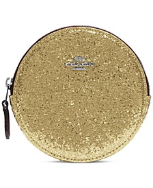 Glitter Leather Round Coin Case