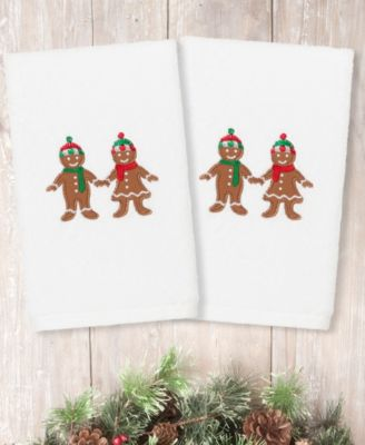 Christmas Gingerbread Embroidered 100% Turkish Cotton Hand Towel