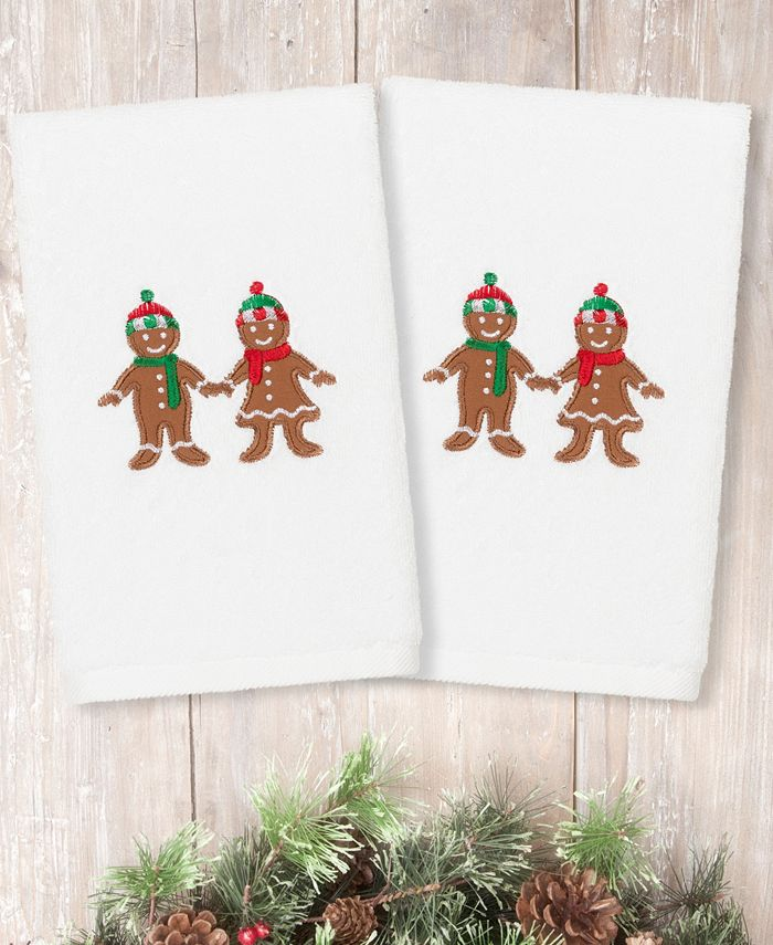 Linum Home - Christmas Gingerbread Embroidered 100% Turkish Cotton 2-Pc. Hand Towel Set
