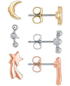 Tri-Tone Night Sky Stud Earrings 3-Pc. Gift Set
