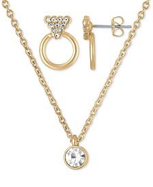 """RACHEL Rachel Roy Gold-Tone Crystal Hoop Stud Earrings & Pendant Necklace, 16"""" + 2"""" extender"""