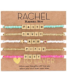 Gold-Tone 5-Pc. Set Faith, Trust & Pixie Dust Beaded Stretch Bracelets