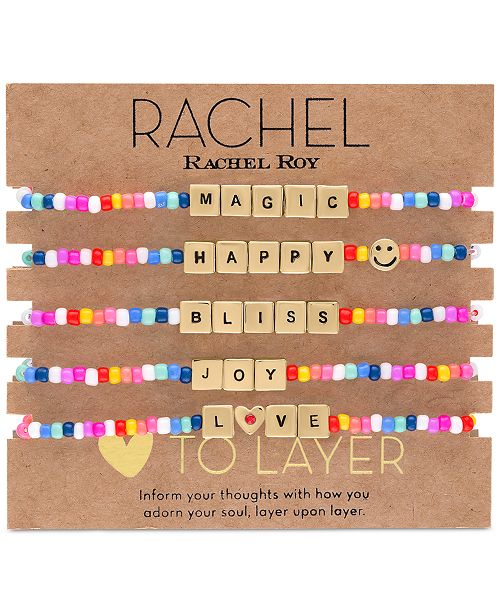 RACHEL Rachel Roy Gold-Tone 5-Pc. Set Beaded Stretch Bracelets