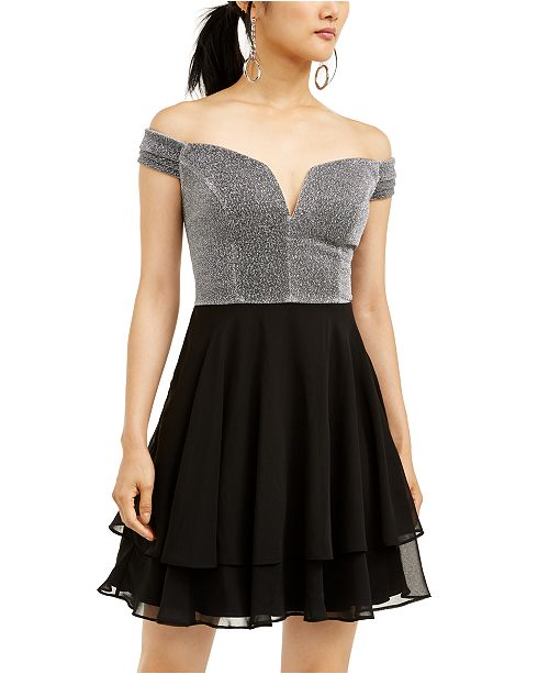 City Studios Juniors' Off-Shoulder Layer-Skirt Dress