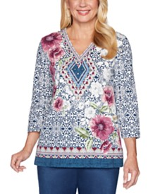 Alfred Dunner Autumn Harvest Mixed-Print Top